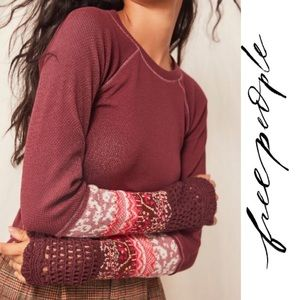 Free People NWT In The Mix Cuff Thermal Knit Top